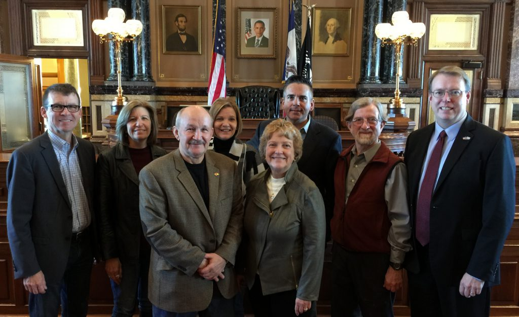 The new Iowa Senate Democratic leadership includes (from left) State Senators Joe Bolkcom of Iowa City (assistant leader), Rita Hart of Wheatland (assistant leader), Bill Dotzler of Waterloo (assistant leader), Liz Mathis of Robins (assistant leader), Amanda Ragan of Mason City (Senate Democratic Whip), Matt McCoy of Des Moines (assistant leader), Herman Quirmbach of Ames (assistant leader) and Rob Hogg of Cedar Rapids (Senate Democratic Leader).