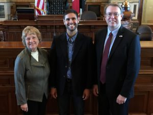 The new Senate Democratic Whip Amanda Ragan (left) and new Senate Democratic Leader Rob Hogg welcome Senator-elect Nate Boulton to the Statehouse. Boulton will represent the east side of Des Moines and Pleasant Hill, a seat the was vacated with the retirement this year of Dick Dearden.