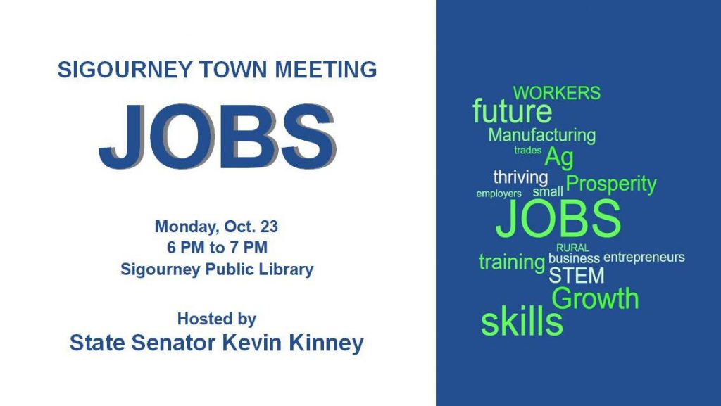 Dems: Kinney invites Iowans to share ideas for job creation at Sigourney town meeting